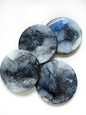Blue Aura Moon Coasters