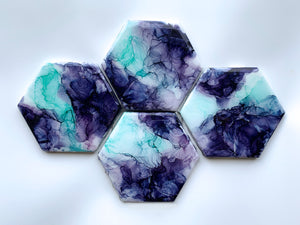 Mint and Purple Coasters