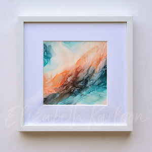 Oceanside Orange Framed 5x5""