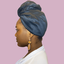 Load image into Gallery viewer, Noire Raw Silk Headwrap