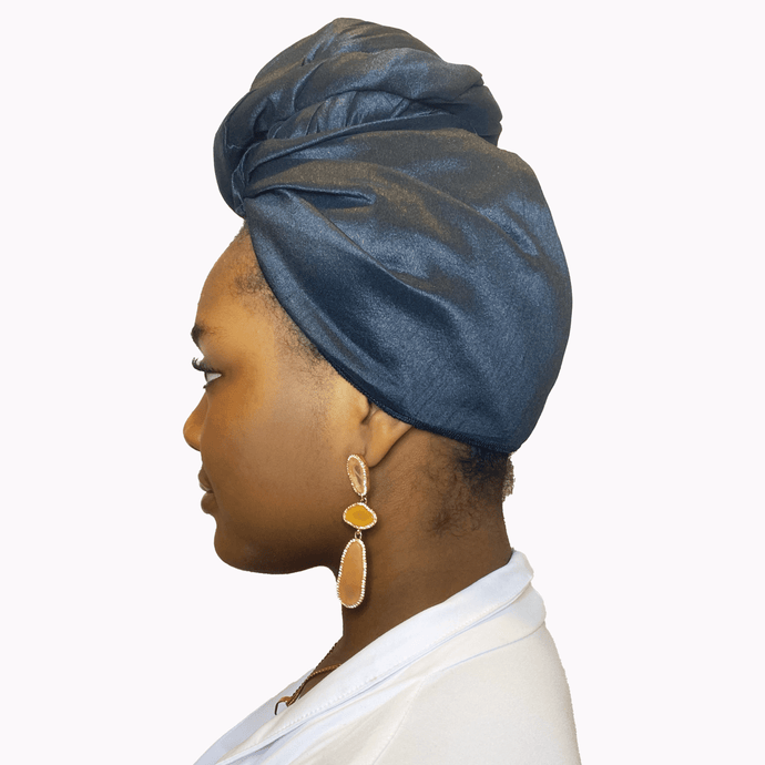 Noire Raw Silk Headwrap