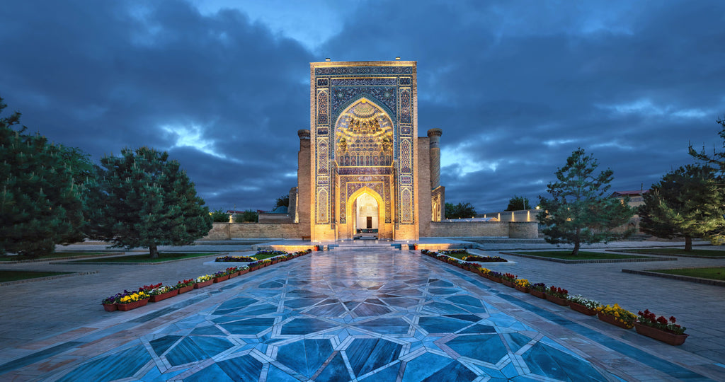 The picture-perfect Gur-e-Amir mausoleum in Samarkand, Uzbekistan.