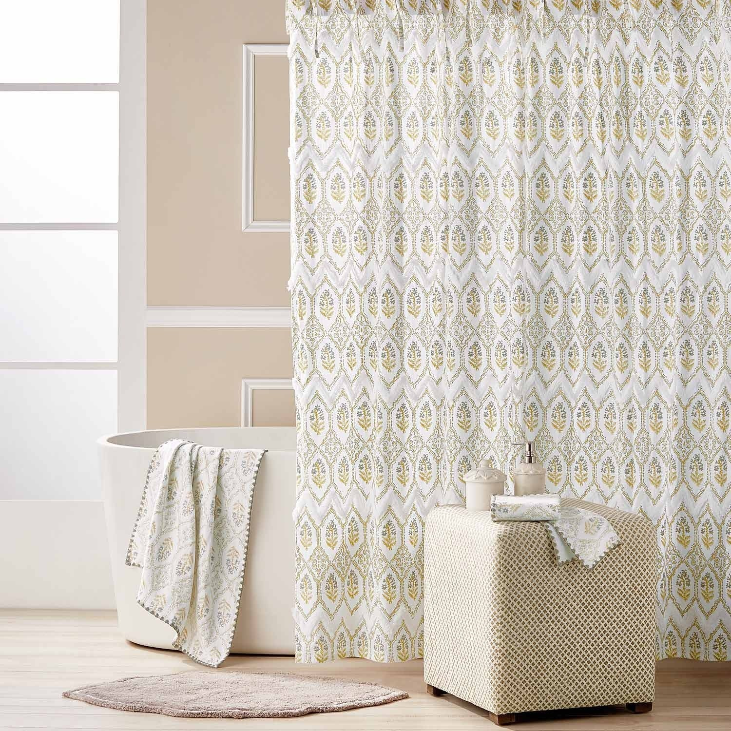 Sahasa Ochre Gray Shower Curtain