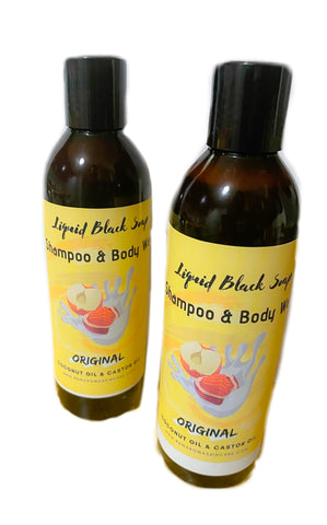 Liquid African Black Soap w. Coconut oil & Castor oil (8oz)