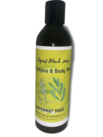 Liquid Rosemary Sage African Black Soap w. Coconut & Apricot Oil (8oz)