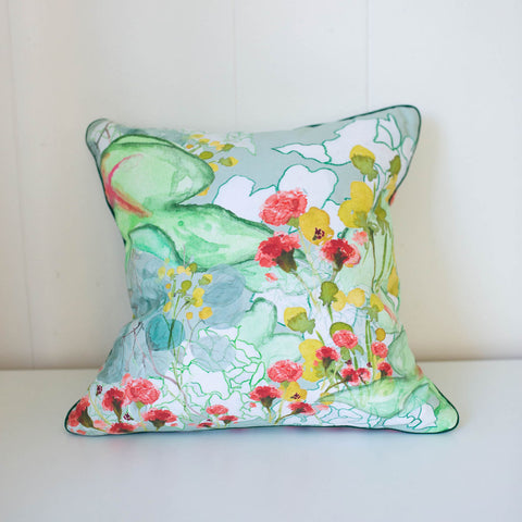 Secret Garden Pillow in Mint