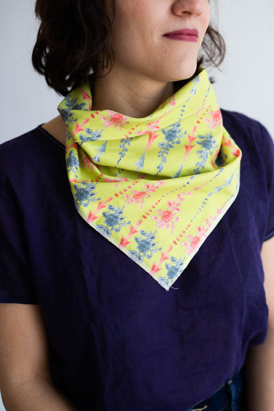 Arrows and Fleurs Bandana in Chartreuse