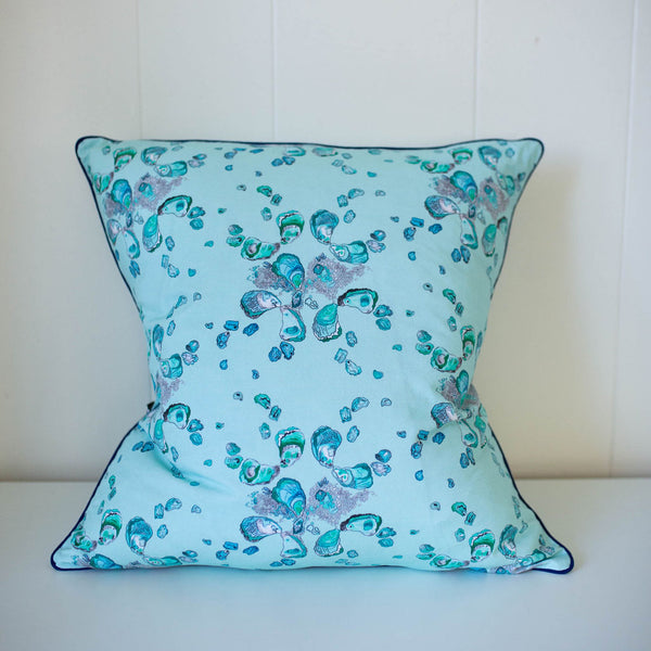 Oyster Pillow in Calm Aqua