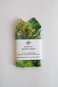 Gentleman's Pocket Square in Gray French Quarter Fern