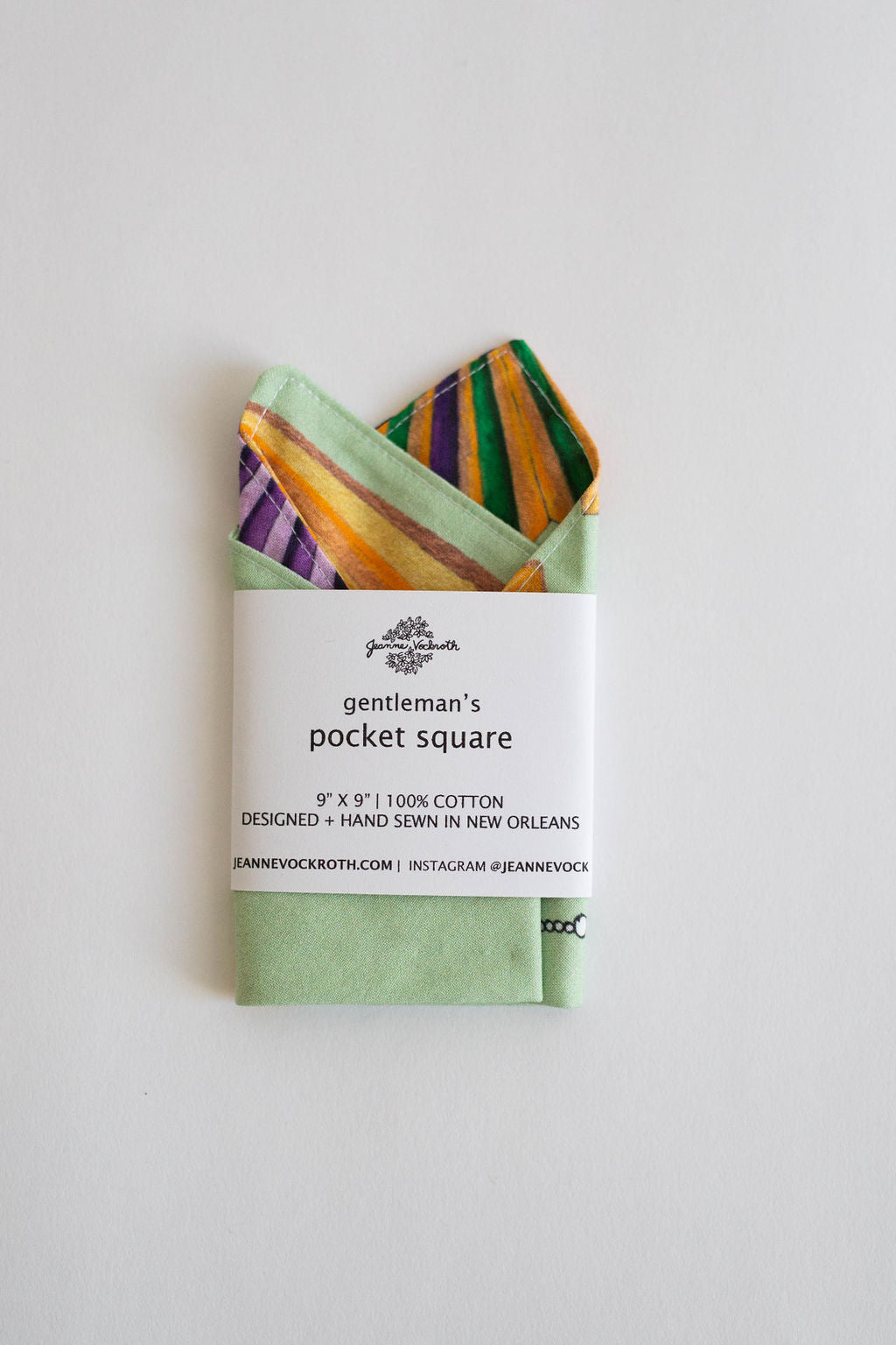 Mardi Gras Gentleman's Pocket Square in Green