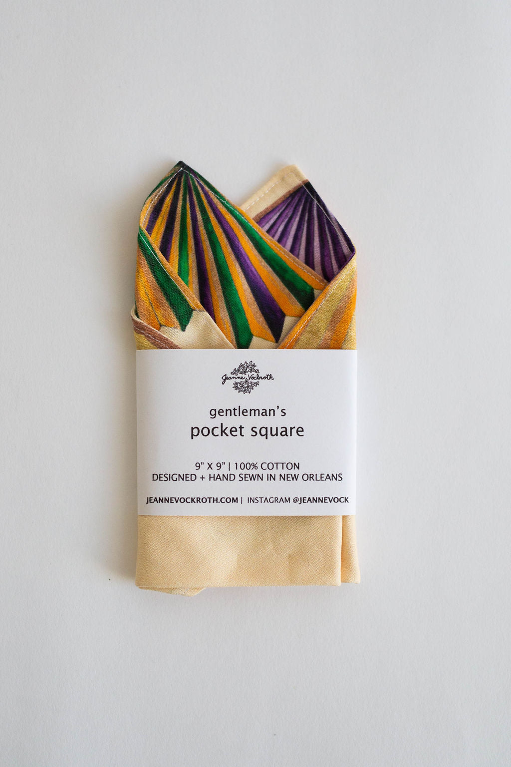 Mardi Gras Gentleman's Pocket Square in Yellow