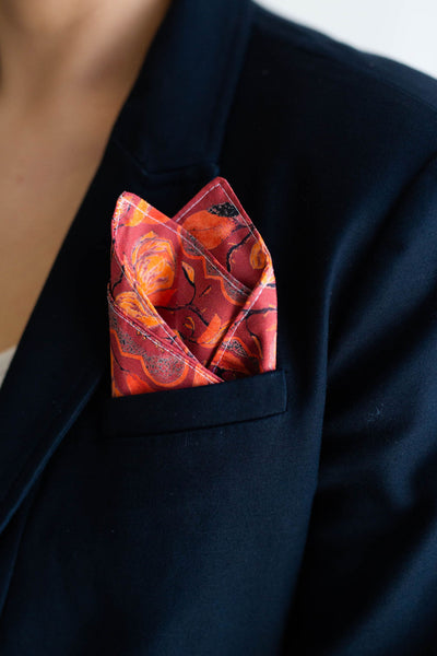 Gentleman's Pocket Square in Burgundy Magnolia