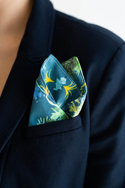 Gentleman's Pocket Square in Blue French Quarter Fern