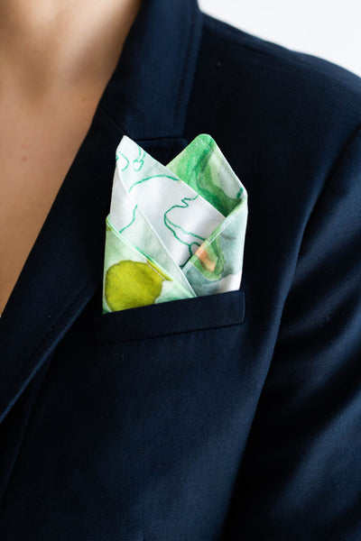 Gentleman's Pocket Square in Secret Garden Mint