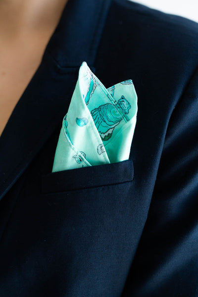 Gentleman's Pocket Square in Teal Oyster Pattern
