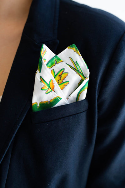 Gentleman's Pocket Square in White Banana Leaf