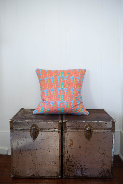 Arrows and Fleurs Pillow in Coral