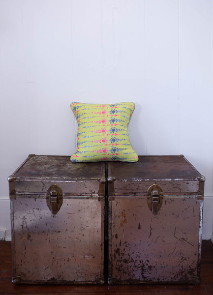 Arrows and Fleurs Pillow in Chartreuse