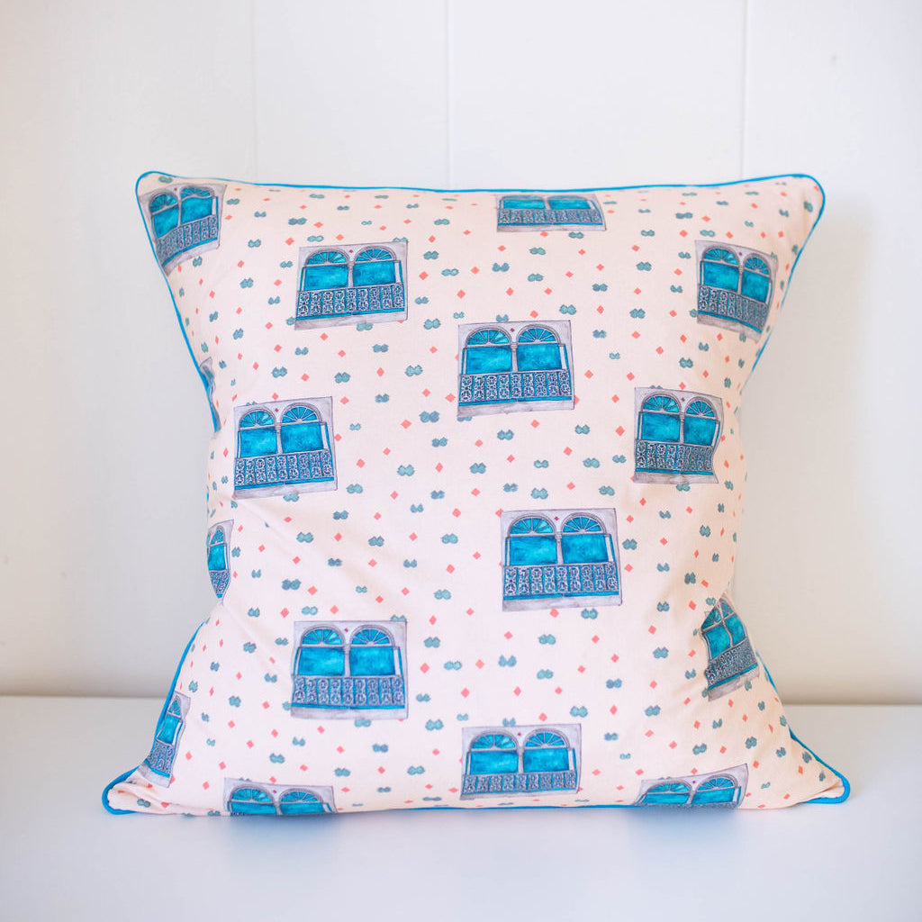 Uptown Windows Pillow in Pale Peach
