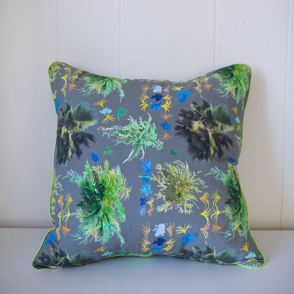 French Quarter Ferns Pillow in Warm Gray