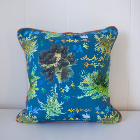 French Quarter Ferns Pillow in Royal Blue