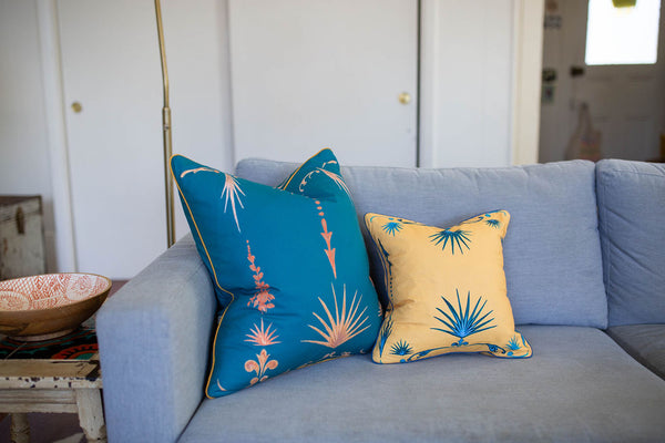 French Palm  Pillow in Sea Green