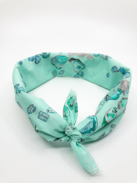 Louisiana Oyster Bandana in Teal