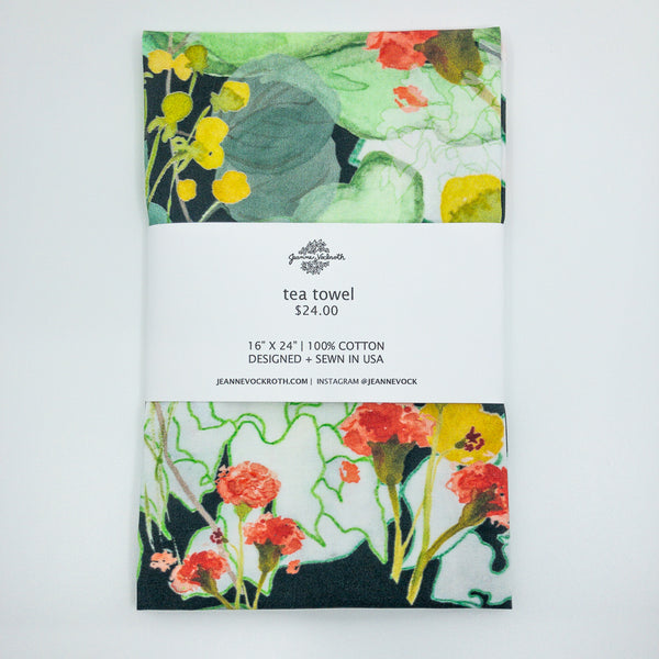Secret Garden Tea Towel in Forest