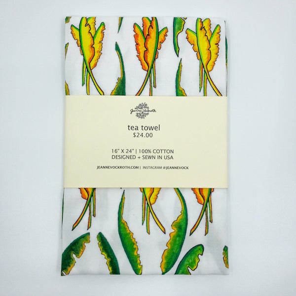 Banana Leaf Tea Towel in White