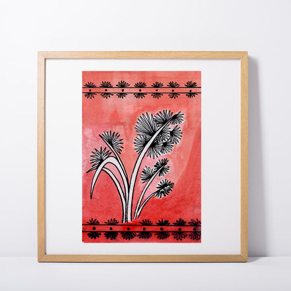 Japanese Fronds in Red and White
