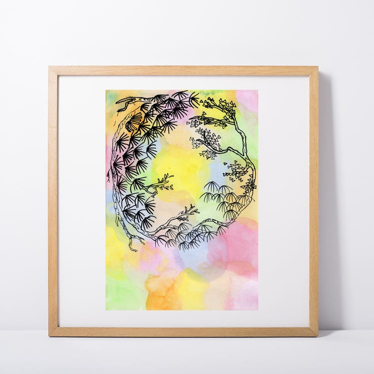 Japanese Multicolor Floral Wreath