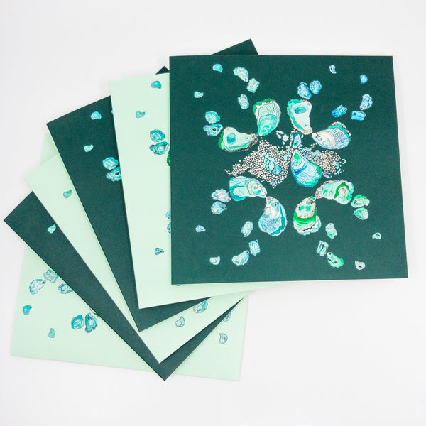 Teal Oyster Watercolor Stationery Set