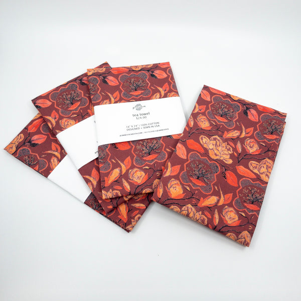 Magnolia Tea Towel in Burgundy