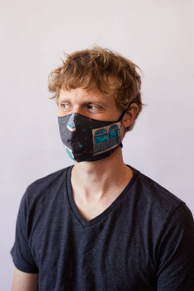 Uptown Windows Cotton Face Mask in Charcoal Gray