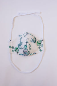 Oyster Cotton Face Mask - in Calm Aqua, Dark Teal, and White