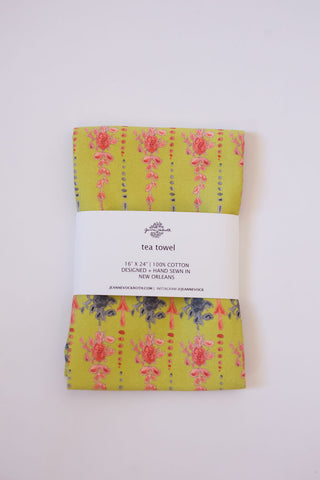 Arrows + Fleurs Tea Towel in Chartreuse and Coral