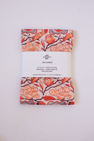 Magnolia Tea Towel in Peach