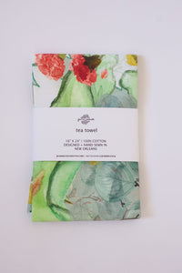 Secret Garden Tea Towel in Mint
