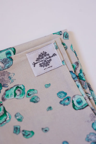 Oyster Tea Towel in Calm Aqua, Gray, and White