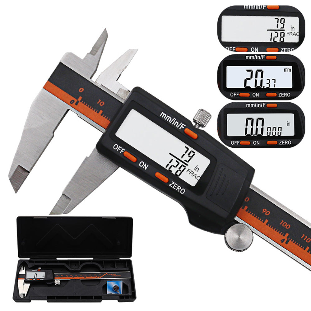 DANIU 150mm Stainless Steel LCD Screen Display Digital Caliper 6 Inch Fraction / MM / Inch High Precision Stainless Steel LCD Vernier Caliper