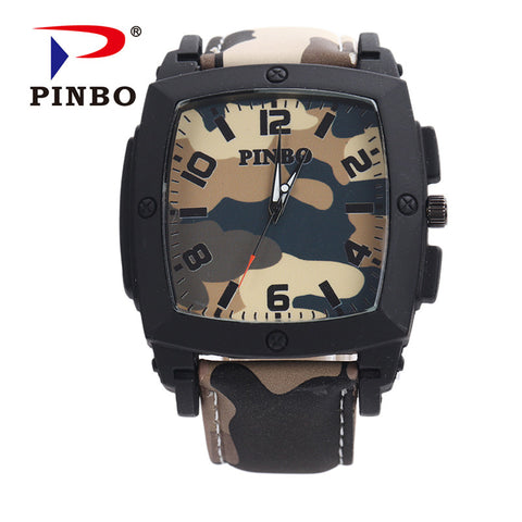 Military Camouflage Leather Watch