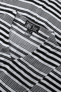Black White Striped Crinkled Bamboo Fabric