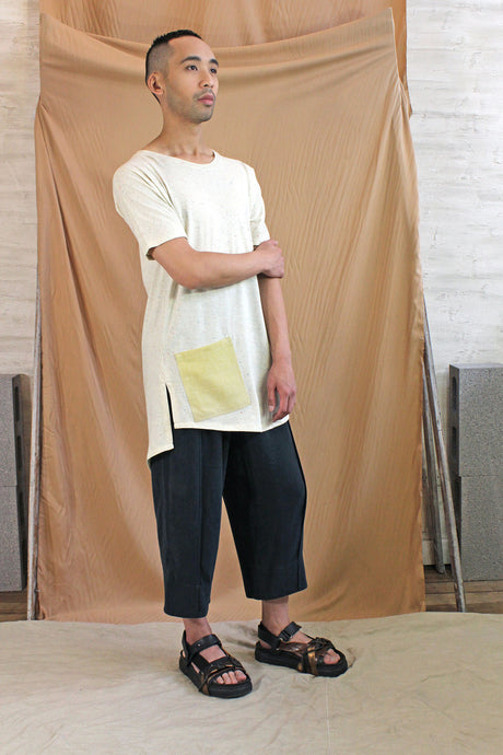 Men's Cream Marle Cotton Viscose Jersey Tee with Side Linen Pocket