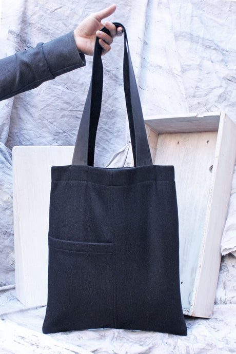 black wool reversible tote bag