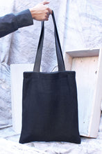 Load image into Gallery viewer, black wool reversible tote bag