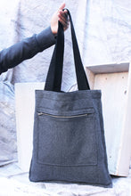 Load image into Gallery viewer, charcoal wool reversible tote bag