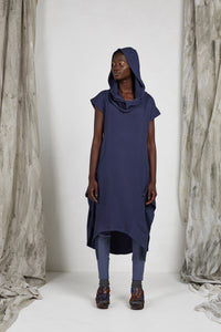 Indigo Cotton Unisex Hood Dress