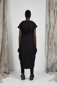 Black Draped Knit Dress with Detachable Hood