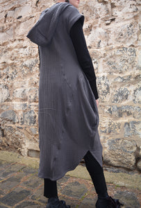 Textured Cotton Hood Drape Tunic Dress