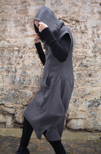 Load image into Gallery viewer, Textured Cotton Hood Drape Tunic Dress